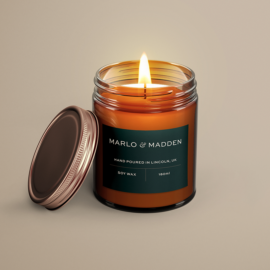 Marlo & Madden packaging design of a burning candle