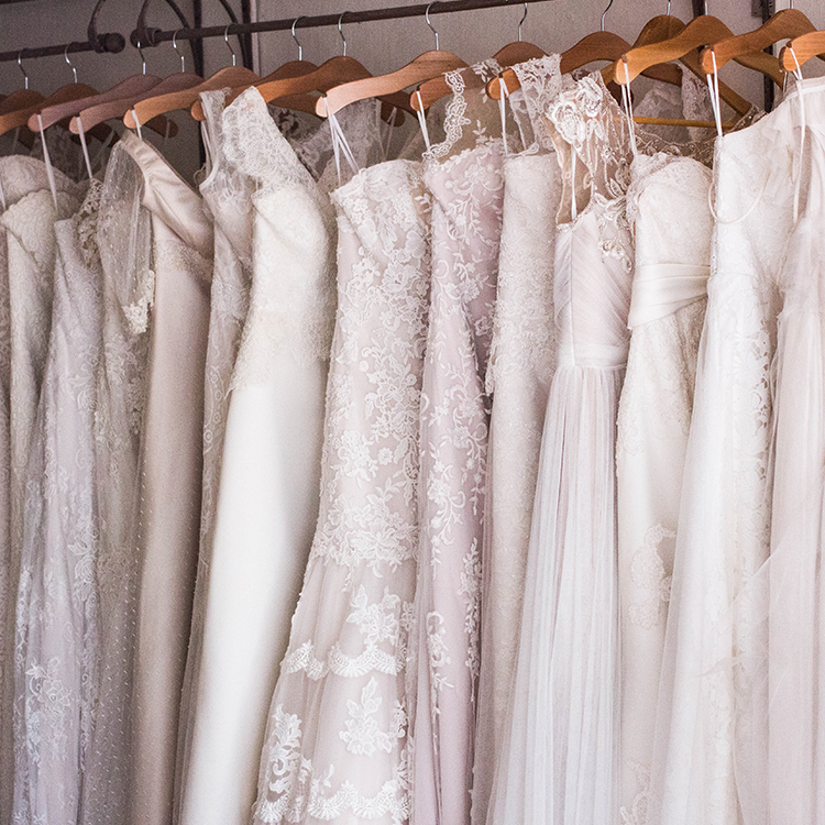 Church Lane Bridal wedding dresses in blush pink